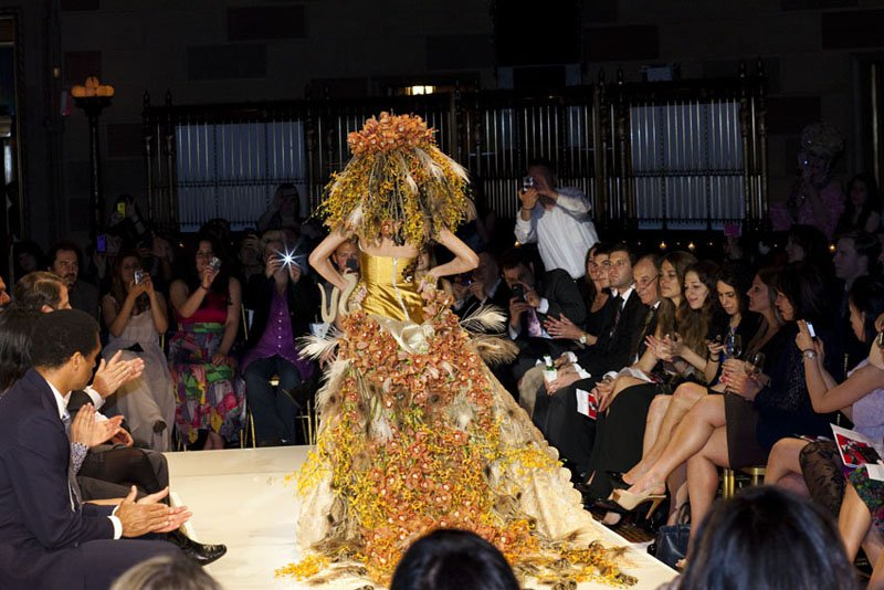 8 ft. long train created with over 500 orchids & feathers